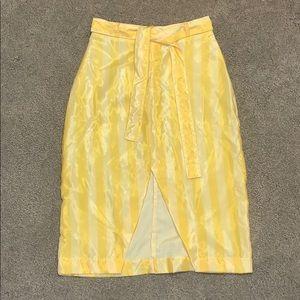 Tach Yellow Striped Midi Skirt